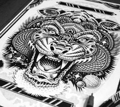 Cosmic Tiger pen drawing by Sneaky Studios from Auckland, New Zealand | No. 1250
