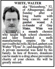 Obituario de Walter White en un diario de la ciudad de Albuquerque