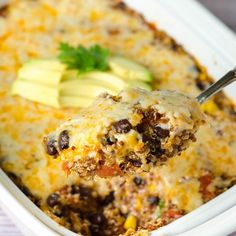 A quick, healthy, and gluten free enchilada casserole full of spicy flavors, lots of cheese, and nutrient-rich quinoa.