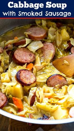Cabbage Soup with Smoked Sausage is loaded with both cabbage and slices of smoked sausage. Cabbage Soup Sausage, Cabbage And Smoked Sausage, Smoked Sausage Recipes, Sausage Stew, Cabbage Soup Recipes, Cabbage Soup Diet, Healthy Soup Recipes, Cooking Recipes, Fruit Recipes