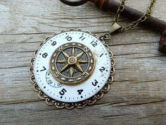 Steampunk Necklace Ornate Clockwork Compass Pocket Watch Face Steampunk Pendant Unisex Necklace by Compass Rose Design Jewelry