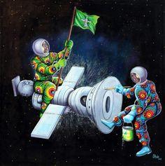 """Satellite King"", 2011 Monsengo Shula Zdjęcie © Eric Simon Congo, Fondation Cartier, Art Populaire, Presentation, Afrikaanse Kunst, Fine Art Paintings, Contemporary Art, Radiation Exposure, Paint"