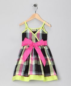 Take a look at this Black & Lime Plaid Lydia Dress - Toddler & Girls by Sophie Catalou on #zulily today!