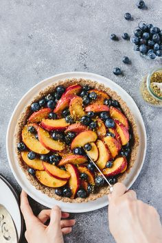 fresh peach & blueberry tart with walnut crust