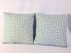"Set of 2, Light Grey Blue and Natural Squares 'Towers Village Blue' Accent Pillow Covers With Zippers, 18"" X 18"""