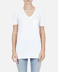 White Classic Tee with Pocket