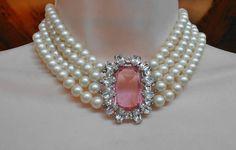 Schiaparelli roze Rhinestone parelketting, 4 Strand, Bruiloft Prom verklaring