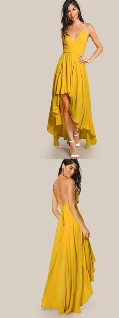 Backless High Low Cami Dress Yellow Long Chiffon Prom Dress