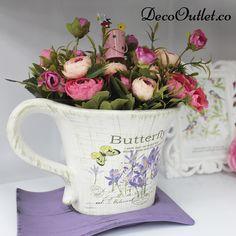 flores, maceta, posillo, vintage