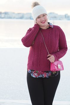Pitsiniekka | Cable Knit and Floral Shirt Outfit with Furla Metropolis Mini Pinky Floral Shirt Outfit, My Outfit, Furla Metropolis Mini, What I Wore, Cable Knit, Pullover, Knitting, Sweaters, How To Wear