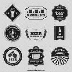 Emblemas da cerveja do vintage Vetor grátis