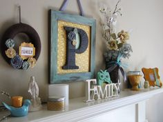 My spring mantle with grey, robin egg blue, mint and mustard yellow...loving it!