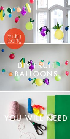 Studio ToutPetit: Festive Fridays * Fruity Party- will do this for fruity Friday! Fancy it Miss Smith? 2nd Birthday Parties, Birthday Fun, Birthday Party Decorations, Fruit Birthday, Festa Party, Diy Party, Party Ideas, Hawaian Party, Fruit Decorations