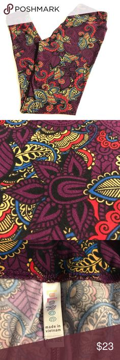NWOT LuLaRoe Leggings!! These buttery soft, super cute leggings have never been worn! Purple background with black, cream, red, and blue! One Size (fits Size 2-10) LuLaRoe Pants Leggings