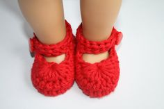 Red Baby Girl Mary Janes Booties Slippers Photo by tweetotshop, $11.99