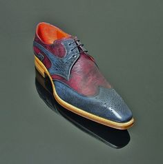"""Moon """"Ray"""" Punch Gibson - Navy and Burgundy Botticelli. See size availability on…"""