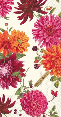 IHR Dahlia Garden cream Floral Printed 3-Ply Paper Guest Towels Wholesale BF607660