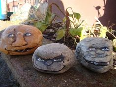 Painted Rock creatures for the garden - love this grumpy faces