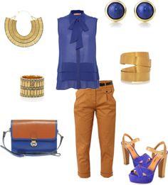 Color Blocking with Blue and Tan, created by chrissy-carter on Polyvore