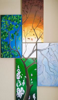 This would look awesome by the patio door Four seasons (acrylic 5 piece painting set ) Easy Canvas Painting, Easy Paintings, Diy Painting, Canvas Art, Four Seasons Painting, Four Seasons Art, Cross Art, Tree Wall Art, Canvas Designs