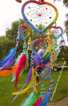 ♥ STUNNING RAINBOW BEADED HEART N FEATHERS DREAM CATCHER WIND CHIME HIPPIE ~ ♥