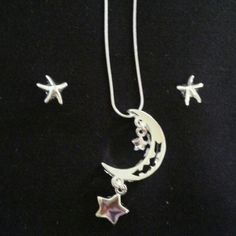 Necklace & earing set moon and stars in silver Stamped 925 16 inch necklace and earing set brand new. Comes with chain. Hammock Beach Jewelry Jewelry Necklaces