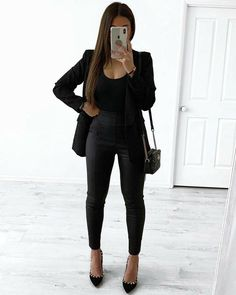 Classy Work Outfits, Cute Casual Outfits, Stylish Outfits, All Black Outfit Casual, All Black Business Casual Outfits, All Black Style, All Black Professional Outfits, Black Work Outfit, Summer Outfits