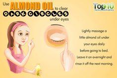 Antes de acostarte aplicá un poco de aceite de almendra sobre las ojeras y masajea suavemente. Por la mañana lavar con agua. Esto ayudará a atenuar tus ojeras.