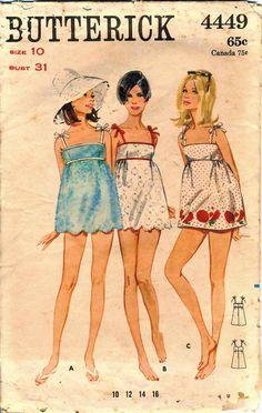 Vintage 70s Butterick 4449 CUT Misses Beach Dress by RomasMaison