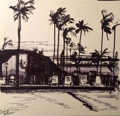 California - ink on paper by Gianluca Dal Bianco cm.  20x20