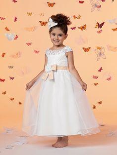 #Wishesbridal Bow Belt Tank Top Ankle Length A Line White Flower Girl Dress B3jo0021