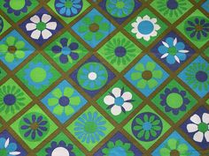 1960s Flower Fabric - wow!