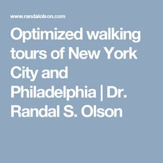 Randy Olson shows how machine learning can be used to optimize walking tours in New York City and Philadelphia. Us Holidays, Randal, Road Trip Usa, Future Travel, Walking Tour, Philadelphia, New York City, Machine Learning, Nyc