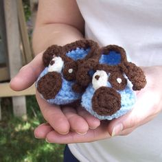 Puppy Baby Booties Blue Baby Booties Newborn Crochet by puddintoes, $18.00