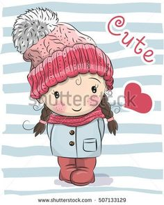 Cute Cartoon girl in a hat and coat
