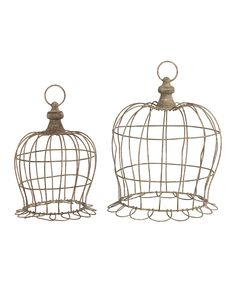 Love this Ruffle Bottom Wire Dome Set by  on #zulily! #zulilyfinds