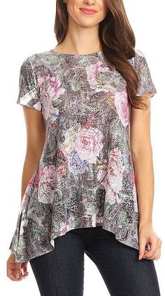 Blue & Pink Floral Sidetail Tunic