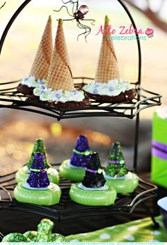 Candy witch hats at a Witch Halloween Party #witch #Halloweenparty