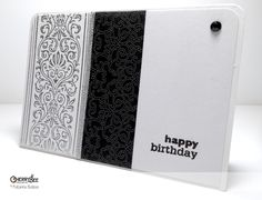 Black & White Happy Birthday Card using pattern paper @ cherry-bee.net