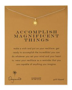 Not sure if i would like gold or silver but love the idea behind this. -Gold-Dipped+Accomplish+Magnificent+Things+Necklace+by+Dogeared+at+Neiman+Marcus. 14k Gold Necklace, Diamond Solitaire Necklace, Cluster Necklace, Dainty Necklace, Silver Bracelets, Silver Jewelry, Diamond Choker, Choker Necklaces, Simple Necklace