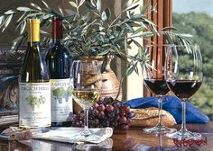 """""""Napa Valley Memories II"""" is a hyper-realistic painting by Watercolor Master, Eric Christensen. This giclée comes in three sizes: 18"""" x 24"""", 30"""" x 40"""", & 36"""" x 48""""."""