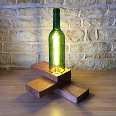 Gift For Wine Lover Home Gift Wine Bottle Table Lamp Desk Light Unusual Modern Minimalist Abstract Wooden Light Home Bar Office Lighting