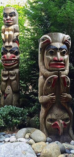 First Nations totem poles at Capilano Suspension Bridge Park in Vancouver, Canada via @rtwgirl