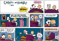 Calvin and Hobbes, MONSTERS - OKAY! HOW MANY MONSTERS ARE UNDER MY BED TONIGHT?  ...Just one.. Quit shoving, you hogs!
