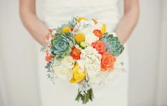 #succulent #bouquet with white, coral, and mustard blooming flowers.