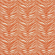 Coral and White Zebra Animal Print  Upholstery Fabric