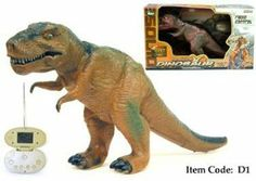 """23"""" RC dinosaur tyrannosaurus radio remote control animal toy monster T-Rex King by AZ Importer. $59.95. The Tyrannosaurus-Rex is back and your in control!  This awesome R/C is the King of the dinosaurs and was feared by all!  The T-Rex comes pre-assembled and ready stomp around.  The Dino ROARS as it walks and stomps around.  The head moves around and the mouth opens to let out fear sounds!  So get your hands on a T-Rex and order today!         Real Dinosaur sound when ..."""