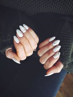 marble almond nails