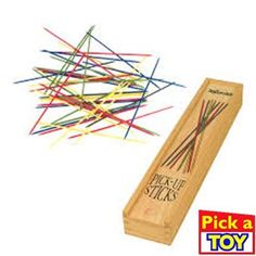 How many sticks can you pick up? The classic game features 41 wooden sticks in assorted colors. Measuring long, the sticks come in a wooden storage box. Includes rules of play. Board Game Store, Board Games, Pick Up Sticks, Lego Store, Wooden Storage Boxes, Brown Paper Packages, Hosting Company, Educational Toys, Gift Ideas