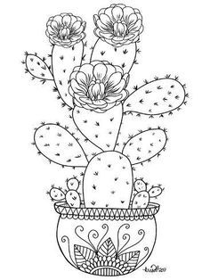 Cactus Drawing, Cactus Art, Doodle Drawings, Chalk Drawings, Coloring Book Pages, Flower Coloring Pages, Rock Art, Art Sketches, Line Art
